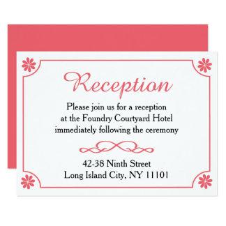Flor retra floral de la recepción nupcial rosada y invitación 8,9 x 12,7 cm