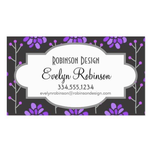 Flor retra púrpura gris oscuro y violeta, floral plantillas de tarjetas de visita
