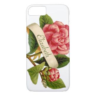 Flor roja de gran tamaño del Victorian y cinta con Funda iPhone 7