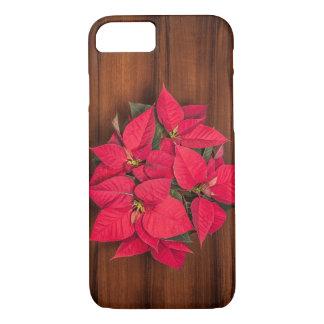 Flor roja del navidad en marrón funda para iPhone 8/7