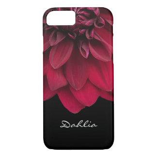 Flor roja floral de encargo de la dalia de la funda para iPhone 8/7