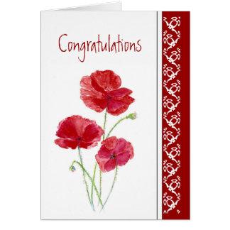 Flor roja pasada de las amapolas de Chemo de la Tarjeta De Felicitación