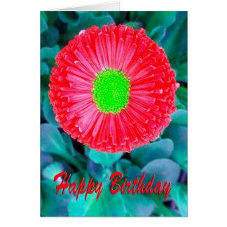 Flor roja y verde del cumpleaños tarjeta de felicitación