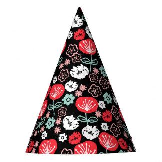 Flor - rosa negro floral de la menta/Andrea Lauren Gorro De Fiesta
