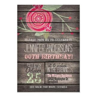 Flor rosada, adulto rústico del país o cumpleaños invitación 12,7 x 17,8 cm
