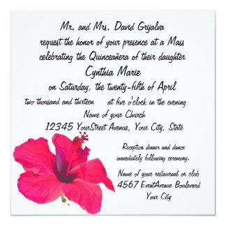 Flor rosada bonita Quinceanera Invitación 13,3 Cm X 13,3cm