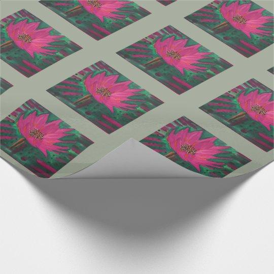 Flor rosada brillante con el fondo verde oliva papel de regalo