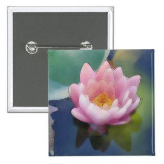 Flor rosada de Lotus con la lona envuelta reflexió Pins