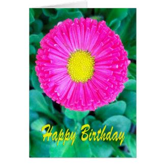 Flor rosada y amarilla del cumpleaños tarjeta de felicitación