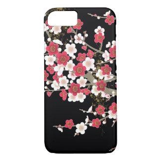 Flor rosada y blanca del japonés del vintage de funda para iPhone 8/7