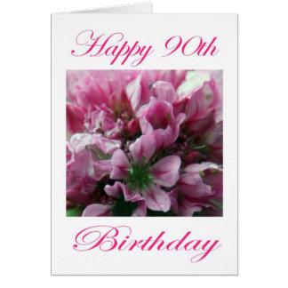 Flor rosada y verde del 90 o cumpleaños feliz tarjetas
