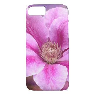 Flor rosado de la flor del Clematis Funda iPhone 7