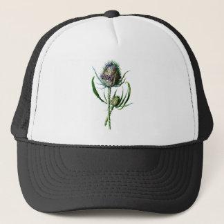 Flor salvaje de la antigüedad del cardo del gorra de camionero