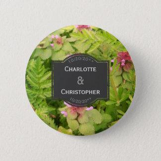 Flor salvaje linda personalizada casando el botón