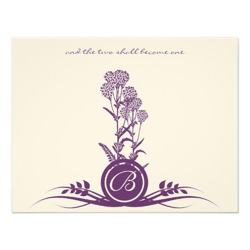 Flor salvaje púrpura del monograma que casa RSVP Anuncios Personalizados