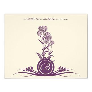 Flor salvaje púrpura del monograma que casa RSVP Invitación 10,8 X 13,9 Cm