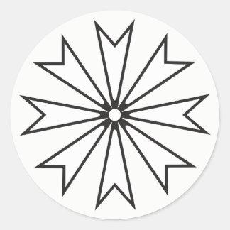 Flor señalada 8 blancos y negros de la estrella pegatina redonda
