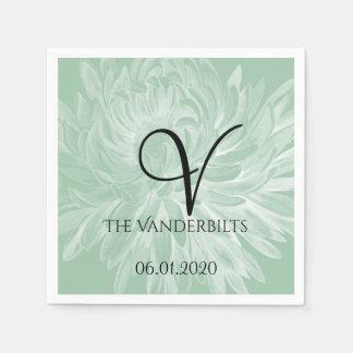 Flor simple moderna en servilleta del boda de la servilleta desechable