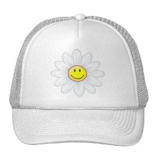 Flor sonriente de la margarita gorros bordados