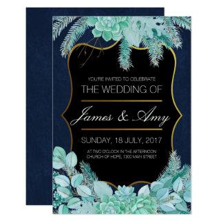 Flor suculenta - azulverde - invitación del boda
