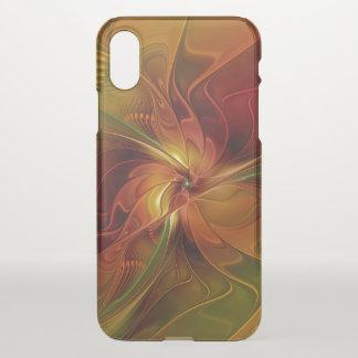 Flor verde anaranjada roja abstracta del arte del funda para iPhone x