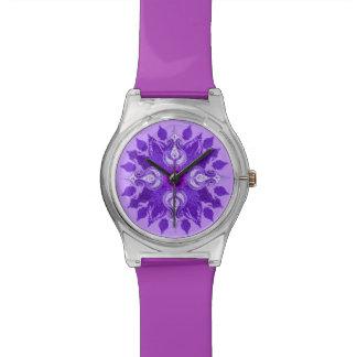 Flor violeta del sol de Paisley Relojes De Mano