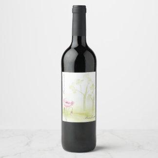 Flor y árboles de la acuarela etiqueta para botella de vino