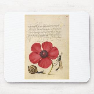 Flor y caracol rojos alfombrilla de ratón