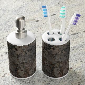 Flor y cepillo de dientes y dispensador de la