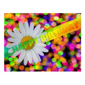 Flor y luces del feliz cumpleaños postal
