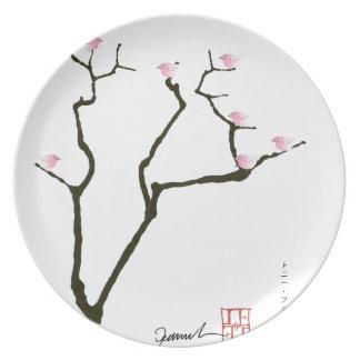 flor y pájaros rosados, fernandes tony de Sakura Platos