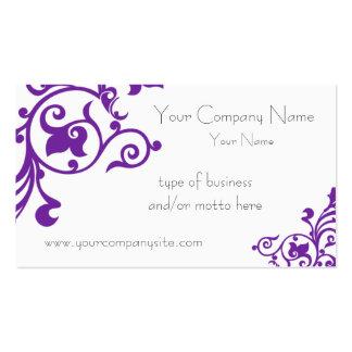 Flora púrpura decorativa tarjetas de visita