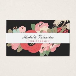 Floración de medianoche floral tarjeta de negocios