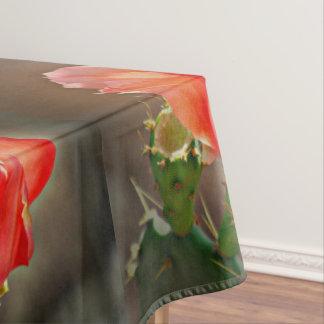 Floración del cactus en mantel rojo