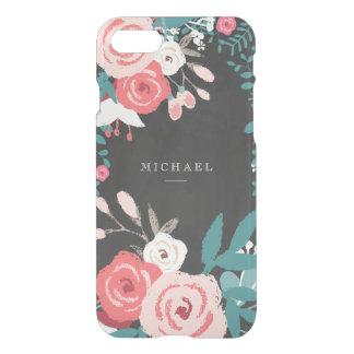 Floración y pizarra rosadas funda para iPhone 7