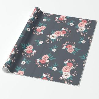Floración y pizarra rosadas papel de regalo