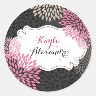 Floraciones rosadas dulces - pegatina del círculo