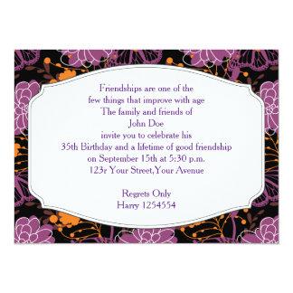 Floraciones y mariposas perfectas invitación 13,9 x 19,0 cm