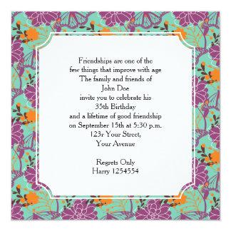 Floraciones y mariposas perfectas invitación 13,3 cm x 13,3cm