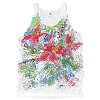 Floral abstracto camiseta de tirantes con estampado integral