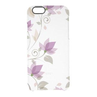 Floral abstracto púrpura de moda funda transparente para iPhone 6/6s