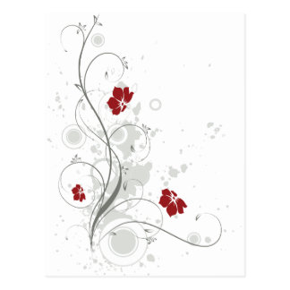 Floral abstracto rojo postal