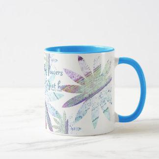 Floral abstracto - taza combinada de 11 onzas