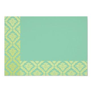 Floral amarillo perfecto en textura del verde de invitación 12,7 x 17,8 cm