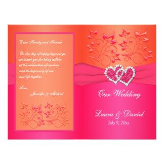 Floral anaranjado rosado, corazones que casan folleto 21,6 x 28 cm