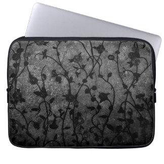Floral antiguo gótico blanco y negro funda para ordenador