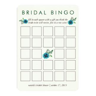 Floral azul nupcial de la tarjeta de juego del invitación 12,7 x 17,8 cm