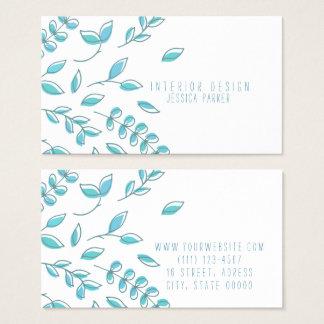 Floral azul simple tarjeta de visita