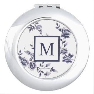 Floral azul y blanco del vintage del monograma del espejo para el bolso