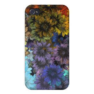 Floral azul y marrón iPhone 4 funda